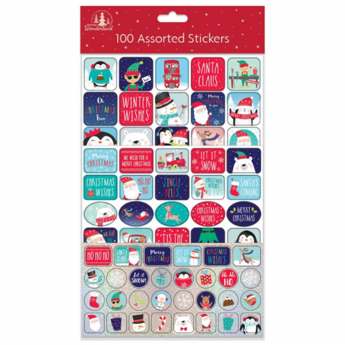 School Christmas Stickers Assorted [Pack 100]