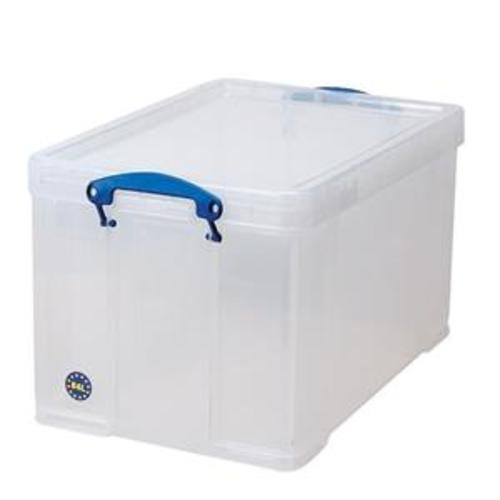 School Stackable Storage Box Plastic 84L 440mm(w) x 710mm(d) x 380mm(h) Clear [Pack 1]