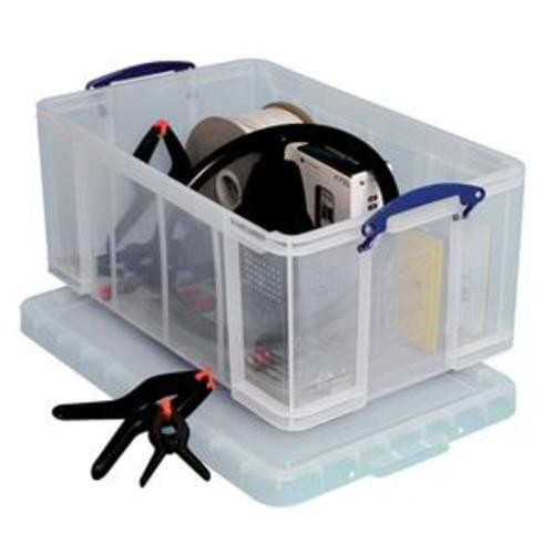 School Stackable Storage Box Plastic 64L 440mm(w) x 710mm(d) x 310mm(h) Clear [Pack 1]