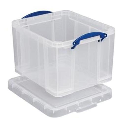 School Stackable Storage Box Plastic 35L 390mm(w) x 480mm(d) x 310mm(h) Clear [Pack 1]