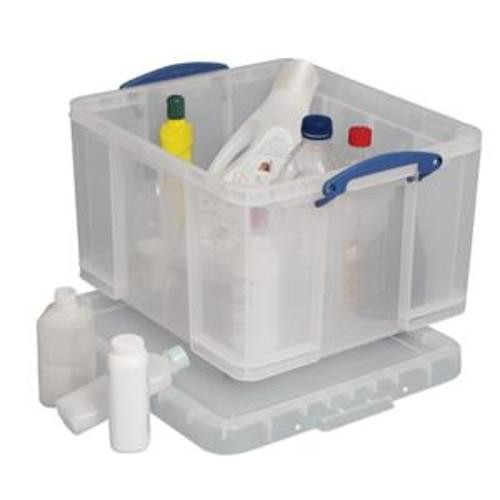 School Stackable Storage Box Plastic 42L 440mm(w) x 520mm(d) x 310mm(h) Clear [Pack 1]