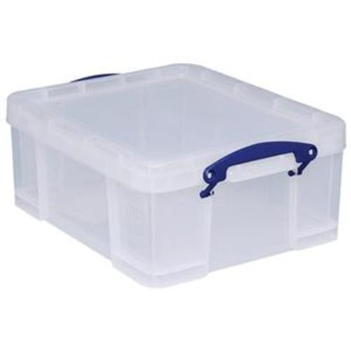 School Stackable Storage Box Plastic 18L 390mm(w) x 480mm(d) x 200mm(h) Clear [Pack 1]