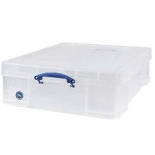 School Stackable Storage Box Plastic 70L 620mm(w) x 810mm(d) x 225mm(h) Clear [Pack 1]