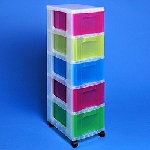 School Storage Drawer Tower Plastic 5x12L 300mm(w) x 420mm(d) x 1005mm(h) Clear Assorted [Pack 1]