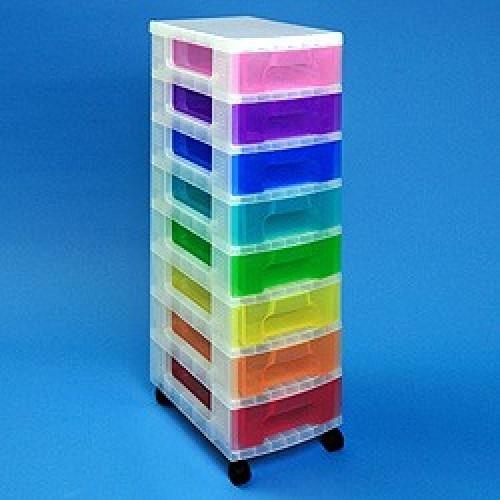 School Storage Drawer Tower Plastic 8x7L 300mm(w) x 420mm(d) x 925mm(h) Clear Assorted [Pack 1]