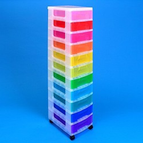School Storage Drawer Tower Plastic 11x7L 300mm(w) x 420mm(d) x 1210mm(h) Clear Assorted [Pack 1]