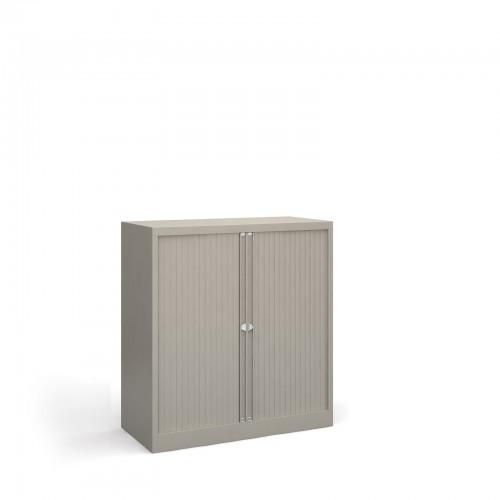 School Tambour Locking Steel Cupboard Goose Grey + 1 Shelf [1000mm(w) x 470mm(d) x 1015mm(h)]