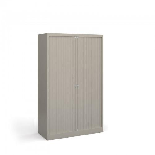 School Tambour Locking Steel Cupboard Goose Grey + 3 Shelves [1000mm(w) x 470mm(d) x 1585mm(h)]