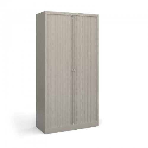 School Tambour Locking Steel Cupboard Goose Grey + 4 Shelves [1000mm(w) x 470mm(d) x 1985mm(h)]