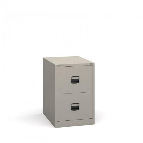 School Filing Cabinet Locking Steel 2 Drawer Goose Grey [470mm(w) x 622mm(d) x 711mm(h)]