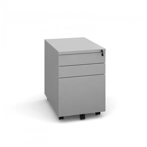 School 3 Drawer Mobile Pedestal Steel Locking Silver [391mm(w) x 545mm(d) x 565mm(h)]