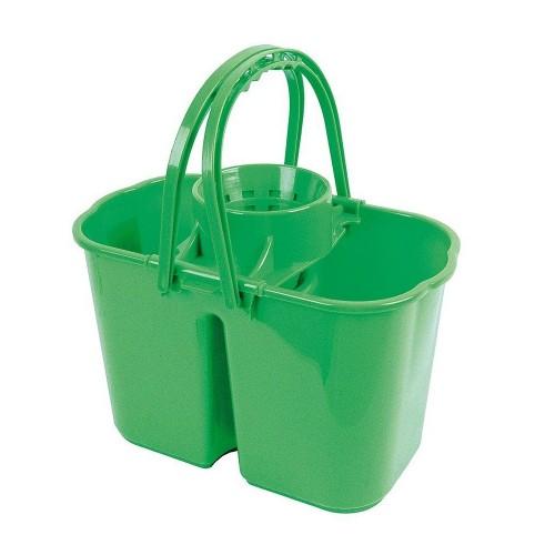 School Double Bucket & Mop Wringer 14 Litre Green [Pack 1]