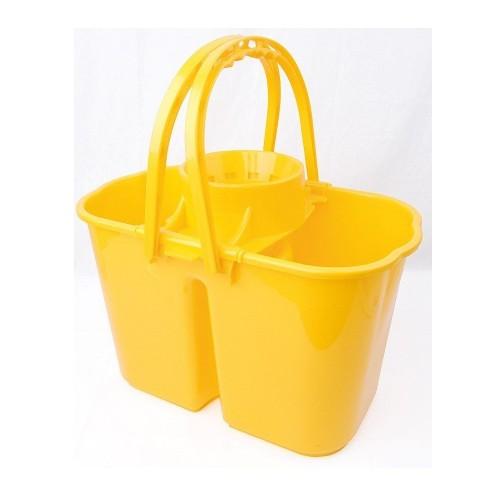 School Double Bucket & Mop Wringer 14 Litre Yellow [Pack 1]
