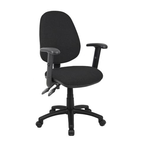 School Office/Teacher Chair 2 Lever Adjustable With Arms Black Upholstery