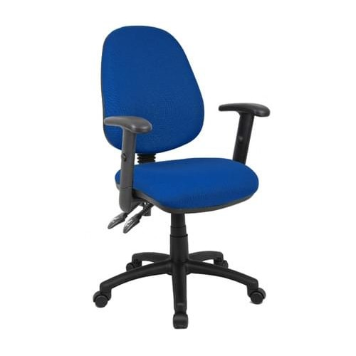 School Office/Teacher Chair 2 Lever Adjustable With Arms Blue Upholstery