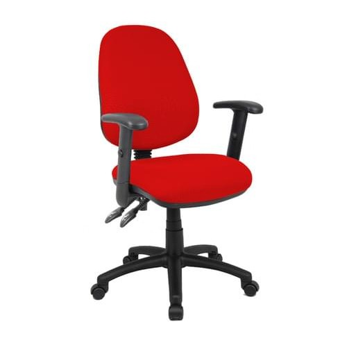 School Office/Teacher Chair 2 Lever Adjustable With Arms Red Upholstery