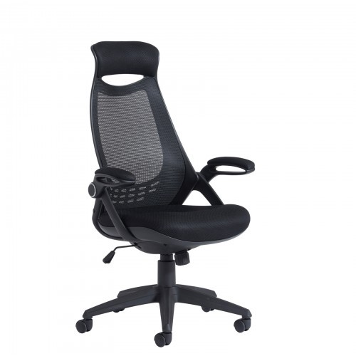 School Office/Teacher Chair 1 Lever Adjustable Mesh High Back With Black Upholstered Seat/Head Support & Pivot Arms