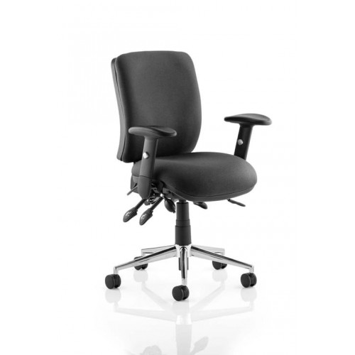 School Ergonomic Chiro Office/Teacher Chair 3 Lever Adjustable With Arms Black Upholstery