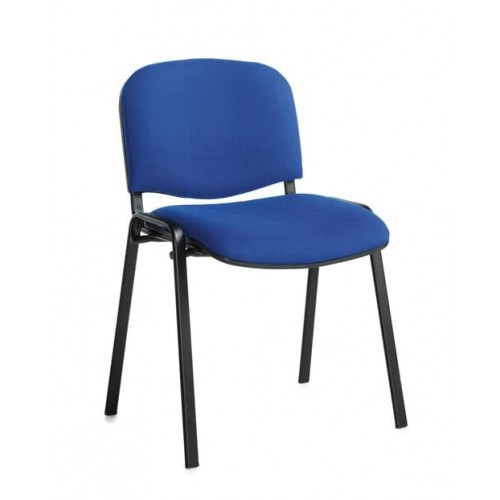 School Meeting/Conference Stacking Chair Black Frame Blue Upholstery [Pack 4]
