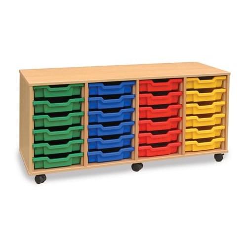 School 24 Shallow Tray Unit Beech [1358mm(w) x 462mm(d) x 617mm(h)]
