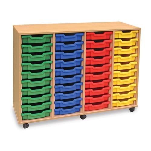 School 40 Shallow Tray Unit Beech [1358mm(w) x 462mm(d) x 961mm(h)]