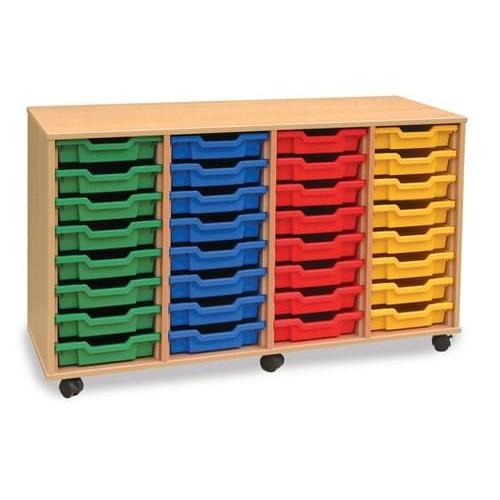 School 32 Shallow Tray Unit Beech [1358mm(w) x 462mm(d) x 789mm(h)]