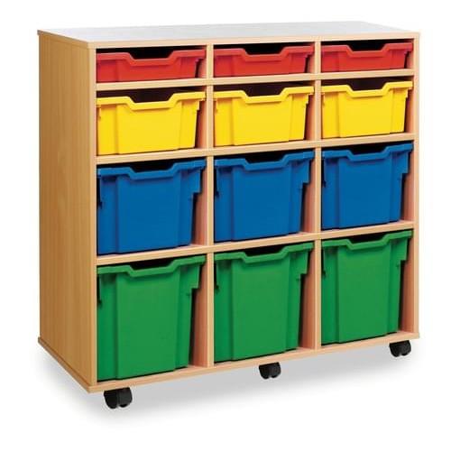 School 12 Variety Tray Unit (Vertical) Beech [1030mm(w) x 453mm(d) x 967mm(h)]