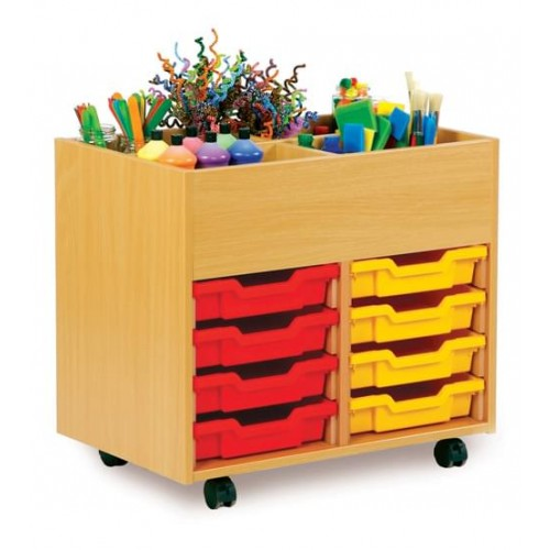 School 4 Bay Kinderbox with 8 Shallow Trays Beech [690mm(w) x 453mm(d) x 625mm(h)]