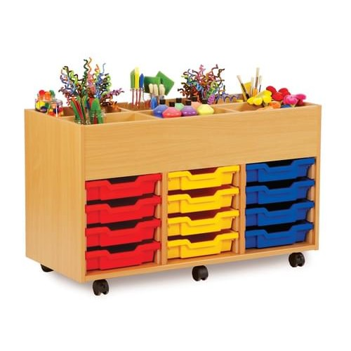 School 6 Bay Kinderbox with 12 Shallow Trays Beech [1022mm(w) x 453mm(d) x 625mm(h)]