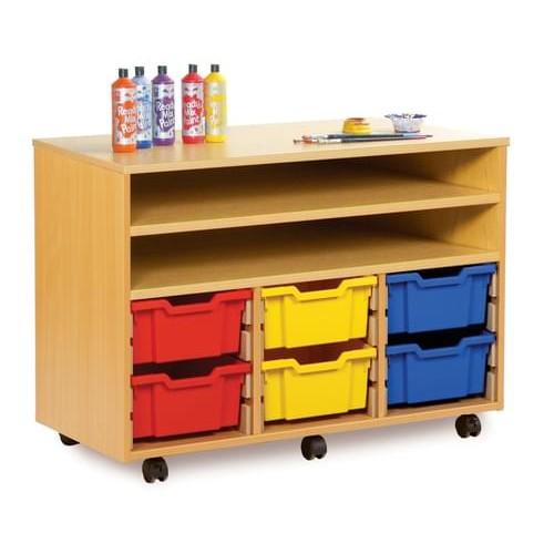 School 12 Shallow Tray Shelf Unit Beech [1030mm(w) x 453mm(d) x 789mm(h)]