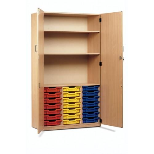 School 21 Shallow Tray Storage Cupboard Full Doors Beech [1030mm(w) x 485mm(d) x 1810mm(h)]