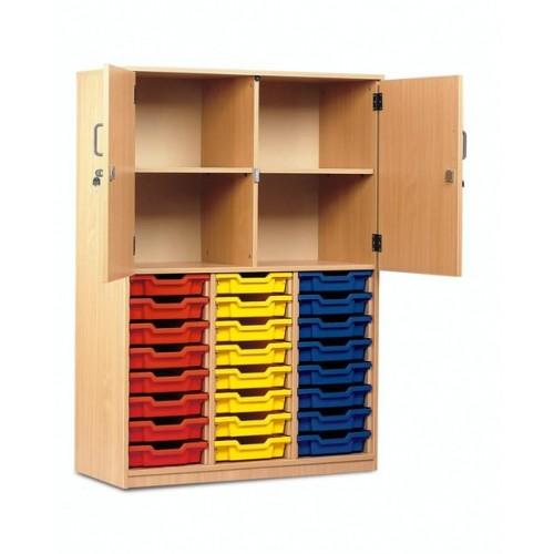 School 24 Shallow Tray Storage Cupboard Half Doors Beech [1030mm(w) x 485mm(d) x 1468mm(h)]
