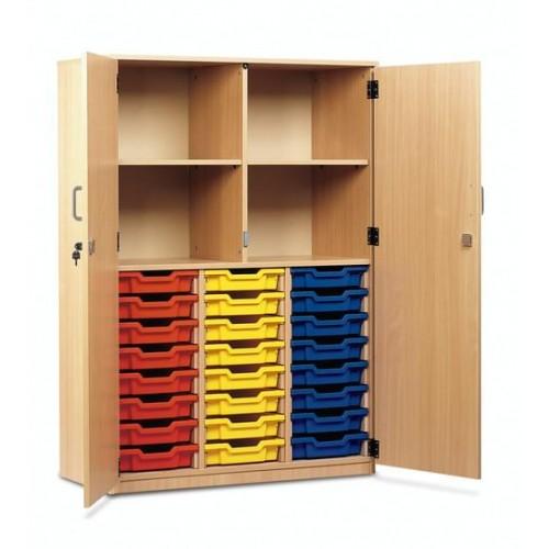 School 24 Shallow Tray Storage Cupboard Full Doors Beech [1030mm(w) x 485mm(d) x 1468mm(h)]