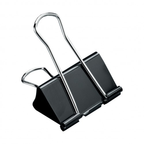 School Foldback Clips 50mm Black [Pack 10]