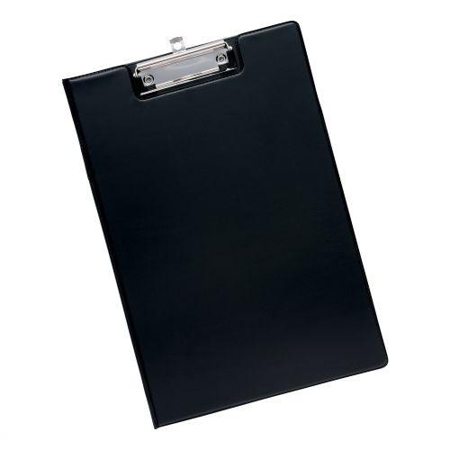 School Clipboard Fold-over PVC Black A4/Foolscap [Pack 1]