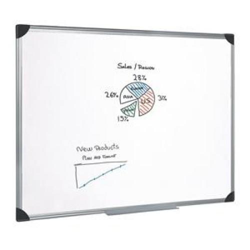 School Drywipe Whiteboard Magnetic 900x600mm Aluminium Trim [Pack 1]