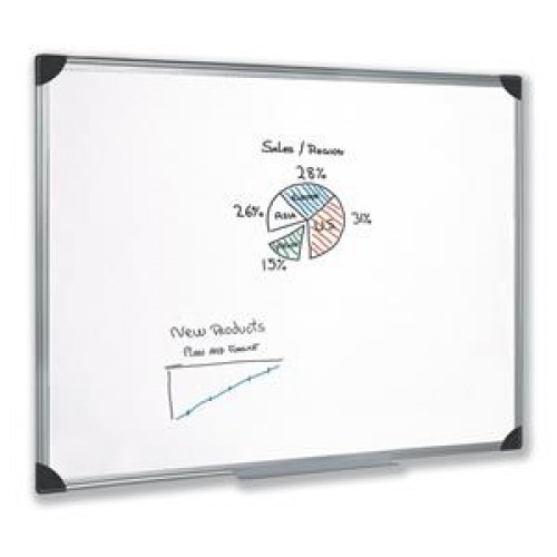 School Drywipe Whiteboard Magnetic 1200x900mm Aluminium Trim [Pack 1]