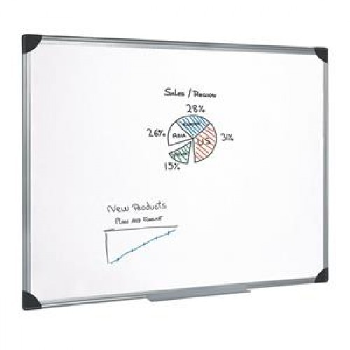 School Drywipe Whiteboard Magnetic 1800x1200mm Aluminium Trim [Pack 1]