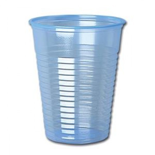 School Water Cups Plastic Cold Drinks 200ml Blue [Pack 50]