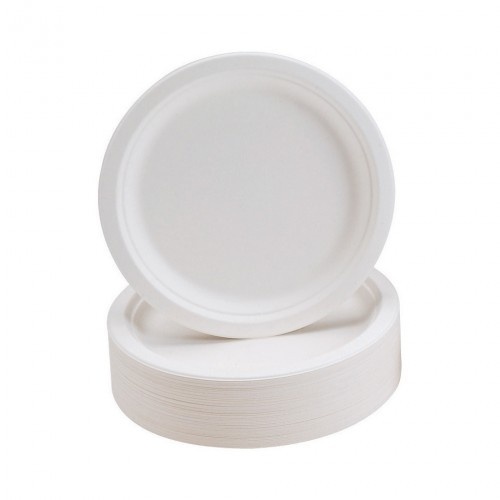 School Rigid Biodegradable Microwaveable Plates 230mm Diameter Disposable [Pack 50]