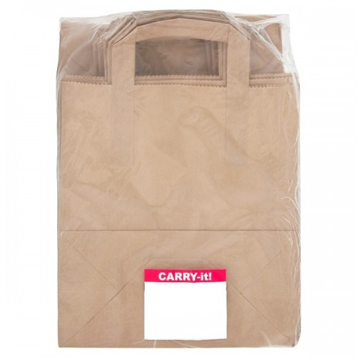 School Brown Paper Lunch Sandwich Bags With Handles 250x220x110mm [Pack 100]