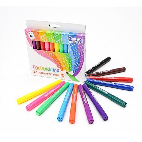Colourifics Super-Washable Jumbo Felt Tips - Pack 12