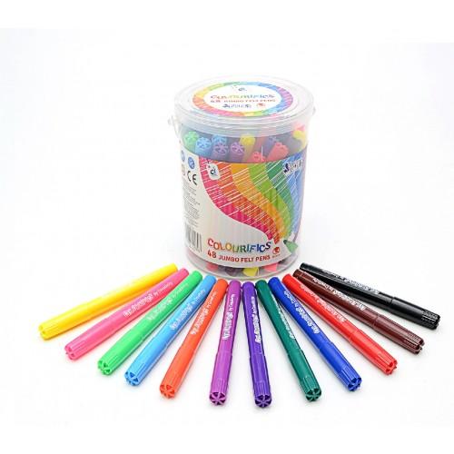 Colourifics Super-Washable Jumbo Felt Tips - Pack 48