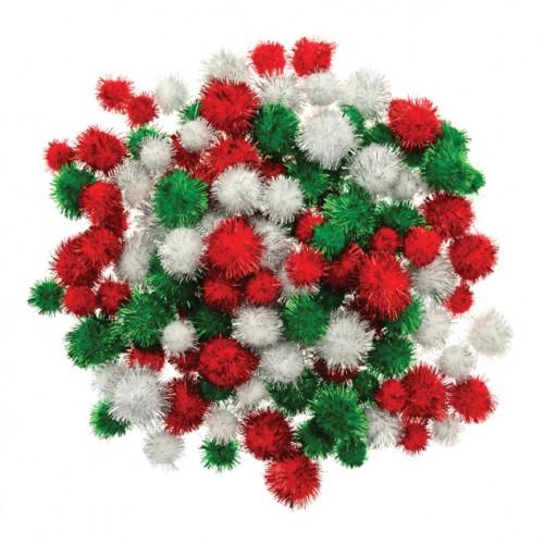 Festive Glitter Pom Poms