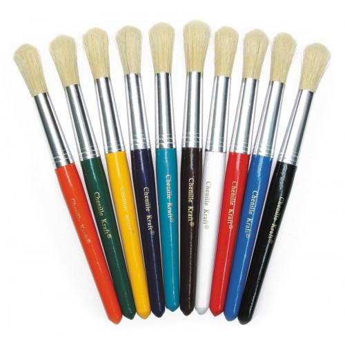 Chunky Handle Brushes - Round Bristles Pk 10