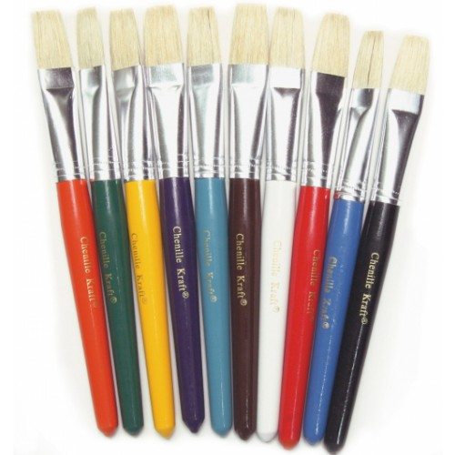 Chunk Handle Brushes - Flat Bristles Pk 10
