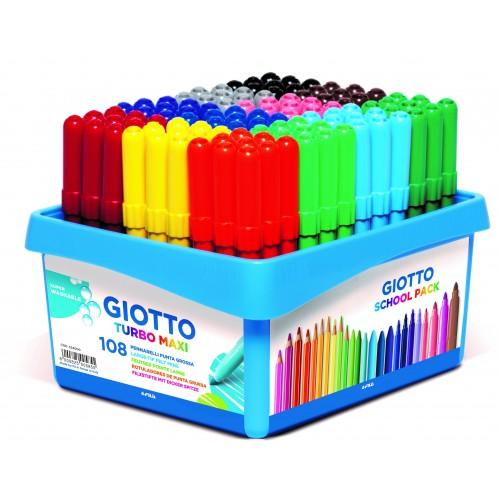 Giotto Turbo Maxi Colour Felt Tips - Schoolpack 108pcs