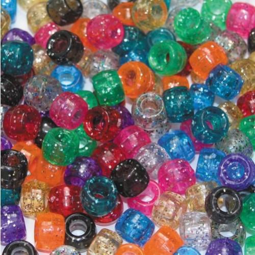 Plastic Pony Beads - Glitter