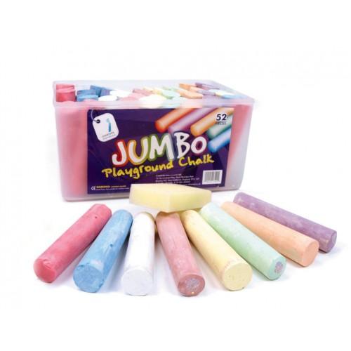 Jumbo Playground Chalks Assorted Pastel -  Pack 52