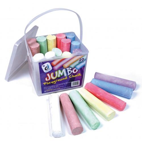 Jumbo Playground Chalks Assorted Pastel -  Pack 20